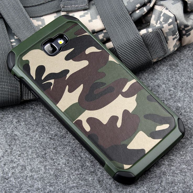 Keysion Phone Case for Samsung Galaxy A7 2017 A720 Army Camo Camouflage Pattern PC+TPU 2 in1 Anti-knock Protective Back Cover