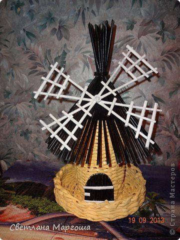 Поделка изделие Плетение Чудо мельница Бумага газетная фото 1