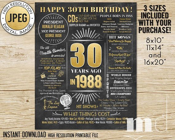 30th Birthday Gift Chalkboard Poster 30 Years Old Born In 1988 Flashback Stats Sign Black Gold Ideas