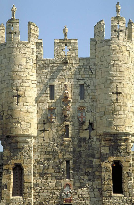 Micklegate Bar, York, UK an ancient entrance to the city of York, over 800 year old Micklegate Bar is by tradition one of the most important ceremonial entrances to York, through which Kings and Queens would enter the city