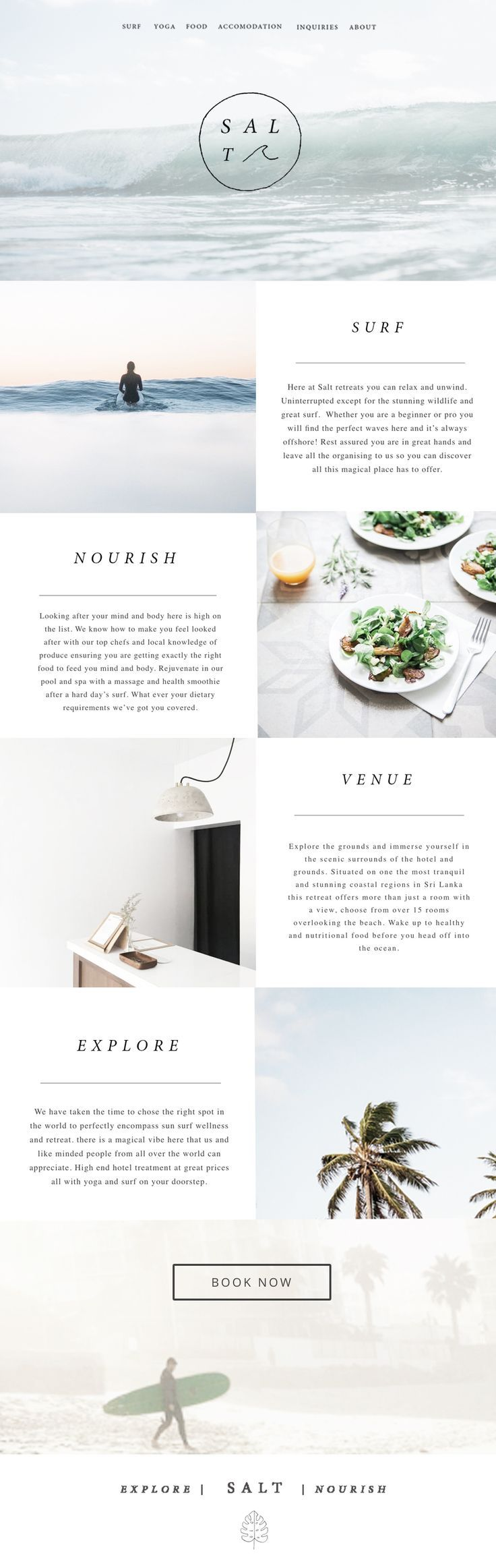 I like the alternating sections, photos make up the color of site and just black and white give it very professional and clean feel