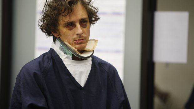 William Cady wore a neck brace when he appeared in court at his arraignment to face charges that he caused a freeway crash last week while intoxicated, resulting in the deaths of three people.