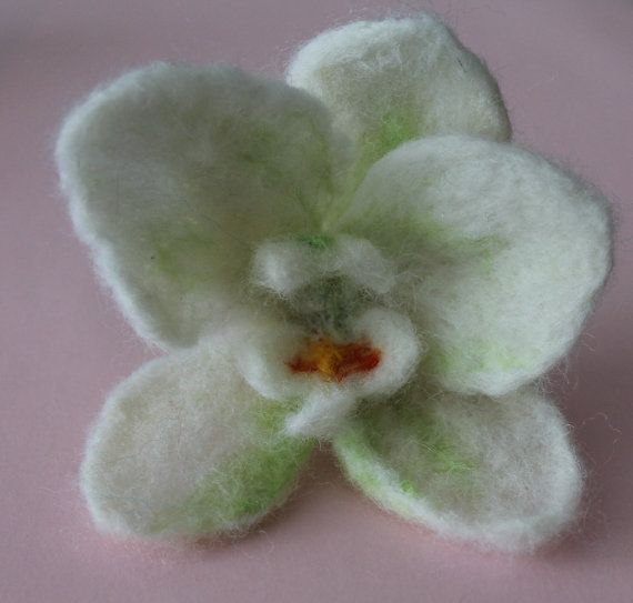 felted brooch / orchidea/ flower brooche by RozalkaFeltAndWool