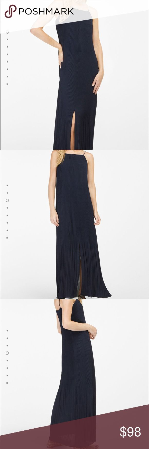 WITH GIFT😍Massimo Dutti navy blue long dress Brand new with tags, super chick , perfect for summer nights🌟⭐️ its %100 polyester, delicate fabric, hand wash only🙌🏻👌🏻 Earrings will be my gift which was $18 originally🎈 Massimo Dutti Dresses Maxi