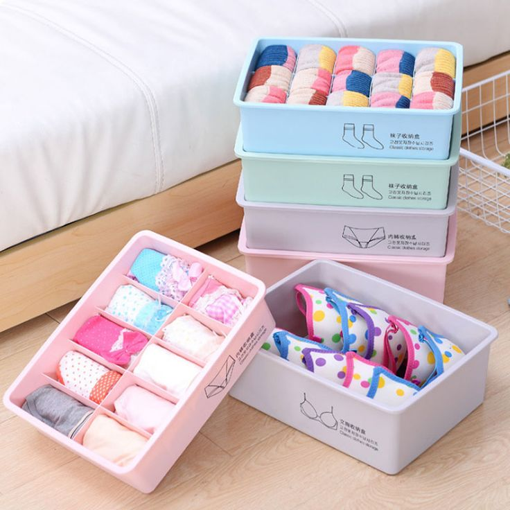 2017 New 1/10/15 Grids Plastic Bra Underwear Socks Clothing Finishing Storage Box Classification Admission 7 Colorful Bins