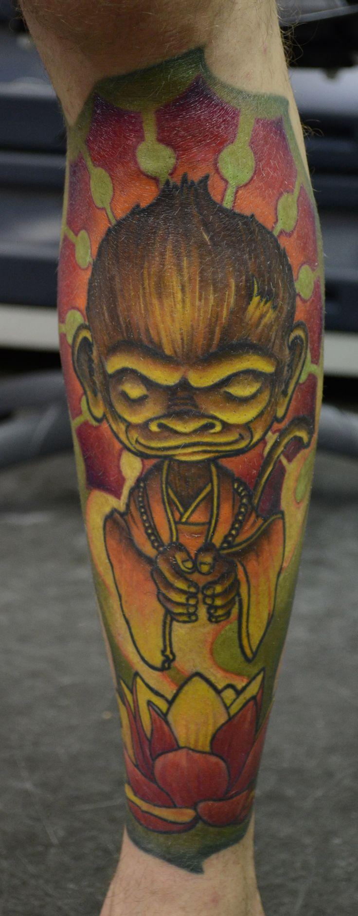 Buddha Monk monkey color leg sleeve design winner