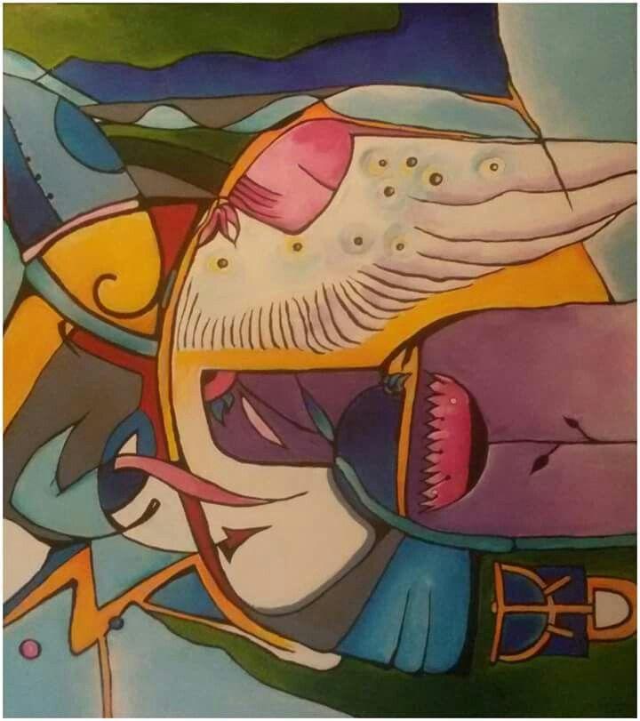 "Silvie Kreiselová ""S křídlem anděla"" Acryl 80x90."