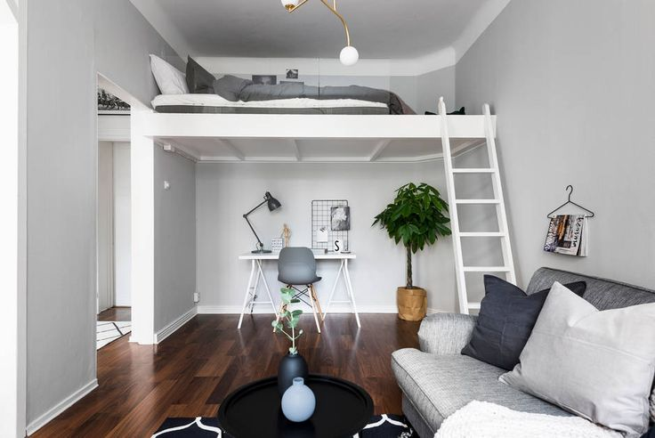 Dreamy studio apartment with a suspended bed - Daily Dream Decor