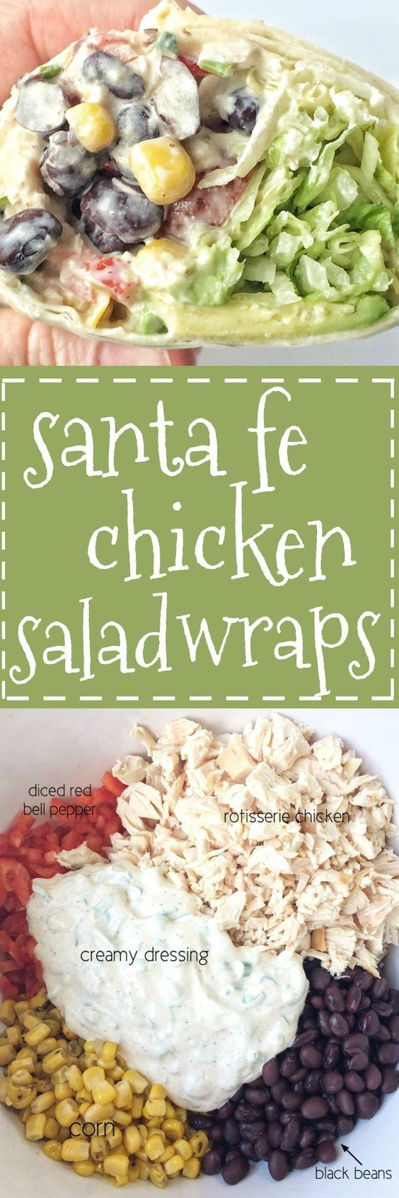 Sante Fe chicken salad wraps are loaded with a flavorful creamy dressing, chicken, beans, corn, shredded lettuce, tomatoes, and avocado. A few minutes to prepare the chicken salad is all you need for a no oven dinner that is sure to be delicious and filli