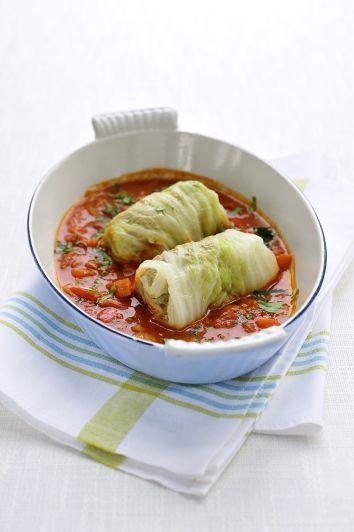 Recepten - Gevulde koolbladeren met rundvlees in tomatensaus