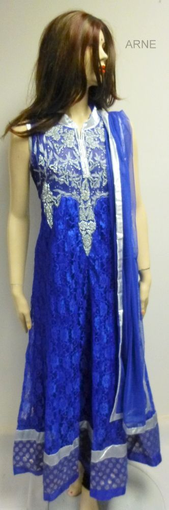 Size 44   - Blue brasso anarkali with diamond stone embellishment all around the neck  - Sleeves attached  - Blue basso material dupatta/scarf