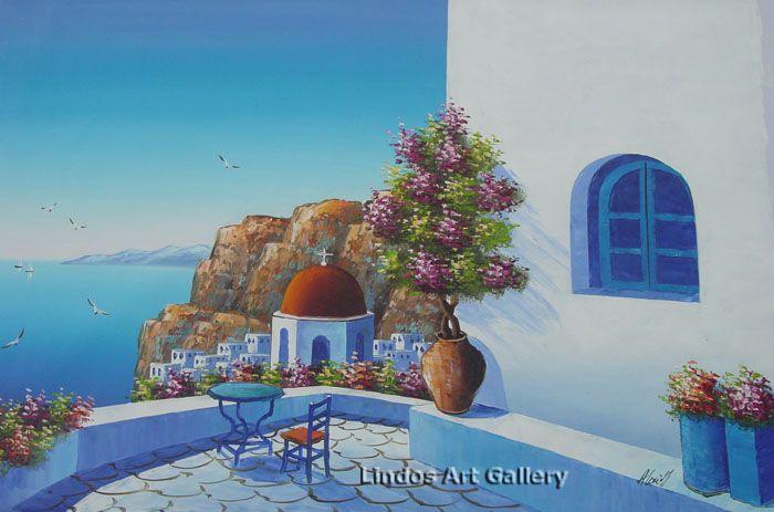Red Church Santorini Seaview Oil Painting