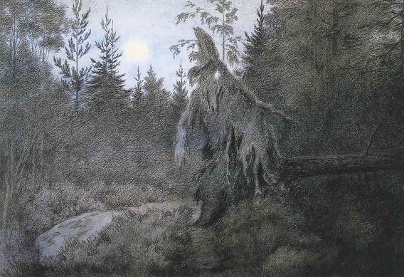 Theodor Kittelsen : Det rusler og tusler rasler og tasler, 1900 (Creepy, Crawly, Rustling, Bustling)