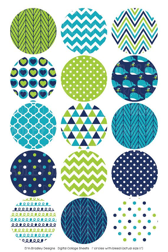 Blue Whales Digital Bottle Cap Images by ErinBradleyDesigns