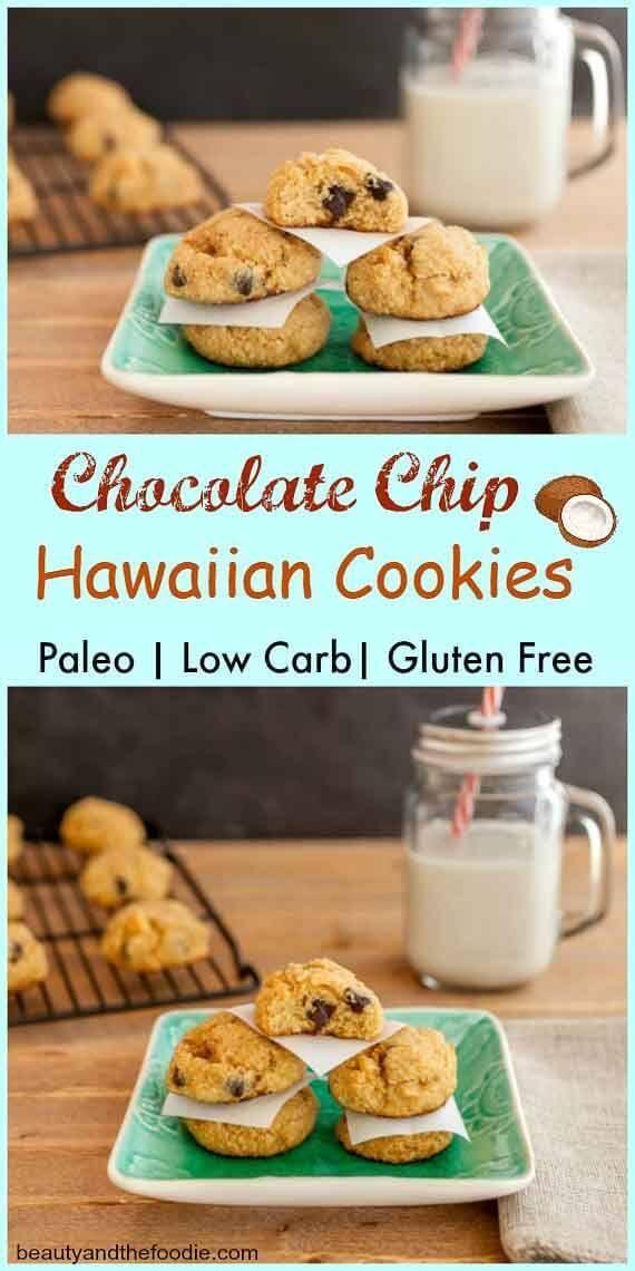 Chocolate Chip Hawaiian Cookies- Grain free, paleo and low carb chocolate chip coconut macadamia nut cookies
