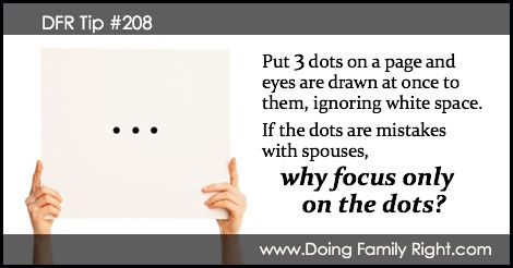 Put 3 dots on a page and eyes are drawn at once to them, ignoring white space. If the dots are mistakes with spouses, why focus only on the dots?