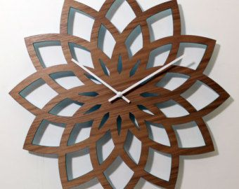 18 LOTUS murale horloge Laser découpe de bois par nygaarddesign