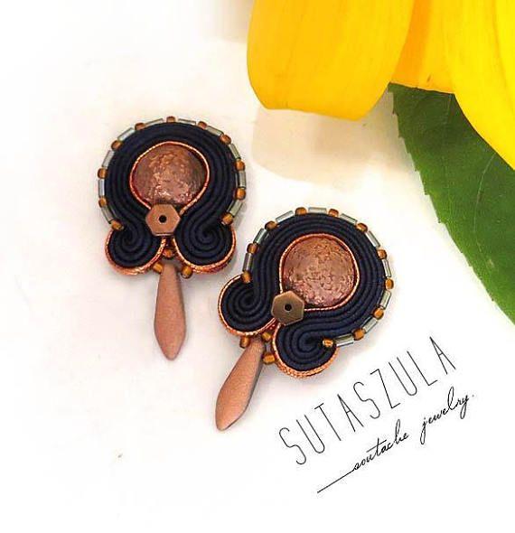 Small navy blue copper Earrings boho lovers earrings soutache
