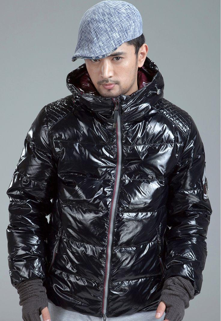 Dayu brand, men's shiny black down jacket. Mens fashion