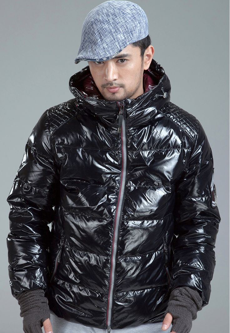 Dayu brand men&39s shiny black down jacket. | Shiny Down Jackets