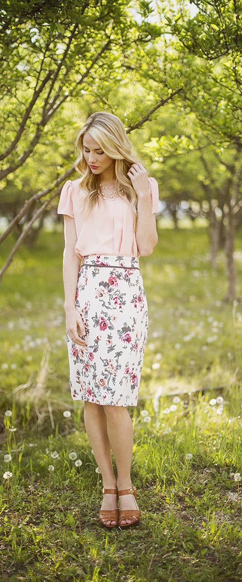 0527121e4d03 Taupe Floral Pencil A modest, floral pencil skirt. Paired with the Drape  Top in peach. | Clothes&Shoes in 2019 | Skirt outfits, Fashion, Floral pencil  skirt