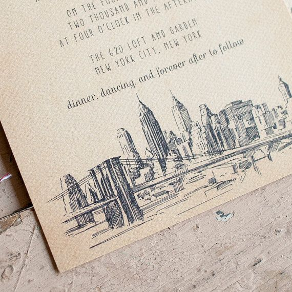 Rustic Wedding Invitations  The NYC  shabby chic by inoroutmedia, $2.60
