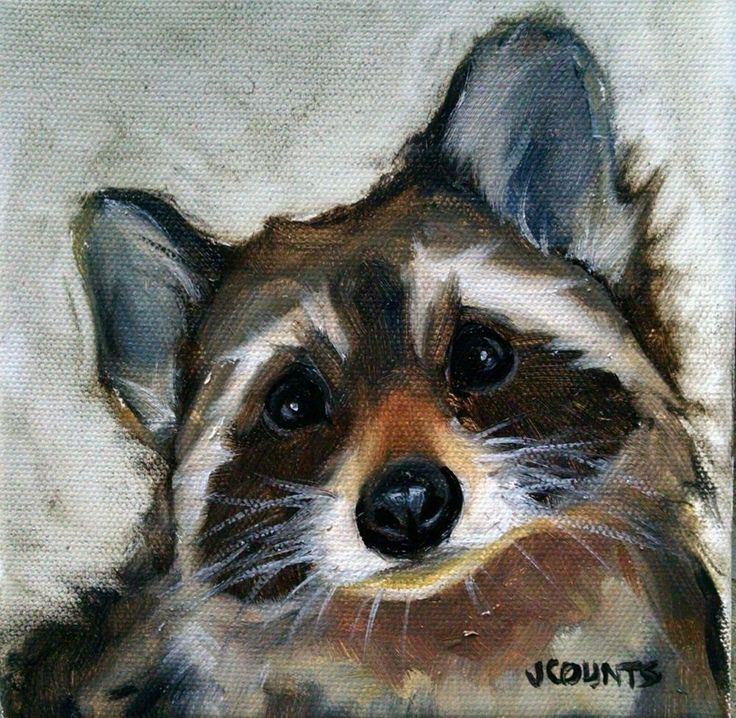 "KYLE BUCKLAND JENN COUNTS FARM ART CUTE RACCOON   ANIMAL OIL PAINTING A DAY Impressionism Melanie Raccoon  FINE ART WALL ART DAILY PAINTWORKS COLLECTIBLE CUTE ANIMALS HOME OFFICE CABIN DECOR ""Melanie"" Oil on canvas  6""x6"""