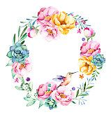 Colorful floral wreath with roses,flowers,leaves,succulent plant