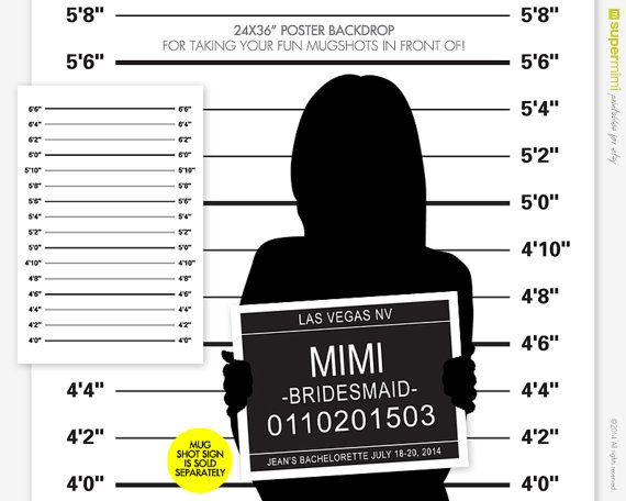 "Mug Shot Sign and Backdrop is Great for a Bachelor, Bachelorette or Other Crazy Party Weekend! Take a photo of everyone the ""day-after""!"