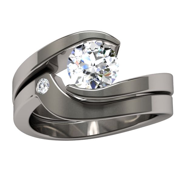 I love how the companion ring has a stone in this set! <3 Stella Diamond Companion - Solitaire Diamond - Engagement Rings | Titanium Rings, Titanium Wedding Bands, Diamond Engagement Rings