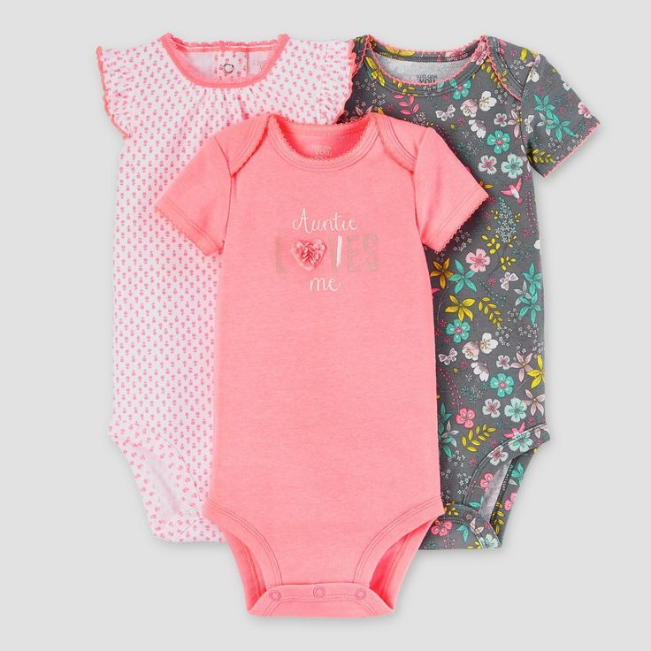 Baby Girls' 3 Pack Auntie Loves Me Bodysuit Set Bright Rose - Just One You Made by Carter's, Infant Girl's, Size: