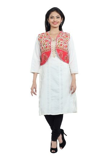 SEVENEAST brings you this sleeveless jacket. Crafted from cotton printed fabric and embellished with cotton lace , this jacket is a great way to add a splash of colour to your outfit...visit: http://www.seveneast.in/index.php?route=product/product&path=104&product_id=137