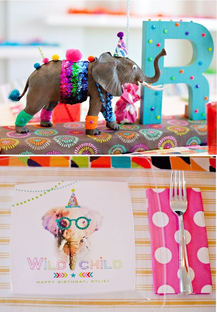 Great animal themed party ideas - Party Animal Elephants - Centerpiece and Plates