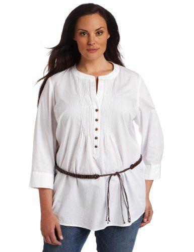 Jones New York Women's Plus-Size 3/4 Sleeve Pleated « Shirt Add