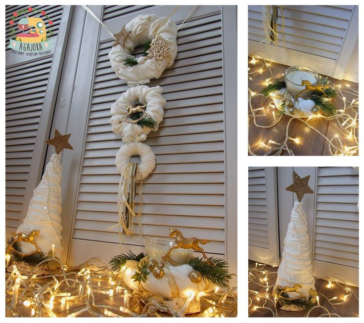 Biel i złoto - niestandardowe spojrzenie :) Inny niż wszystkie wianek na drzwi, choinka, stroik ze świecą.