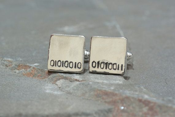 Personalized Binary Code Cufflinks ~ Monogram, Monogrammed Cufflinks for Grads, Gifts for Grads, Gifts for Techies, Geeky Gifts, Intials
