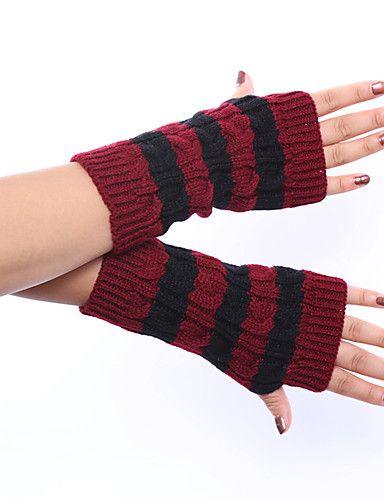 Women's Winter Wool Knitting Twist Stripe Gloves 5297866 2017 – $4.99