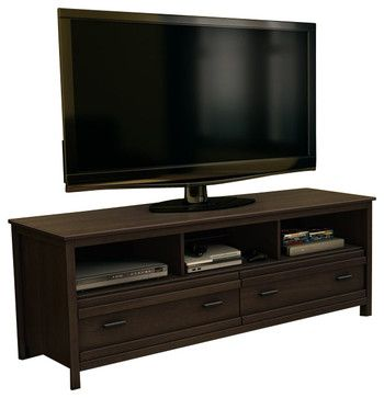 South Shore Exhibit Transitional Style TV Stand in Mocha - transitional - Media Storage - Cymax