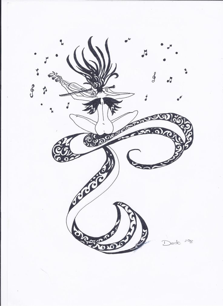 music fairy in black ink