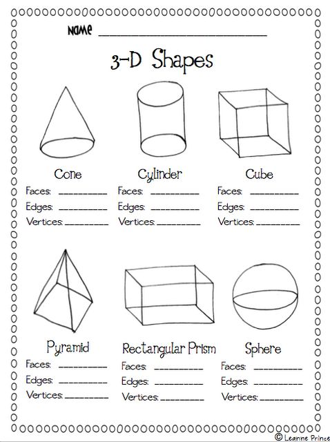 Worksheet Three Dimensional Shapes Worksheets 1000 images about kindergarten math 3 d shapes on pinterest mathematics grade standard three dimensional figures using nets made up of rectangles and triangles use the ends to find sur