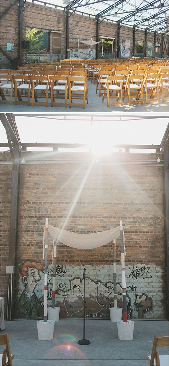 Rustic Ceremony Set-up at the Evergreen Brick Works
