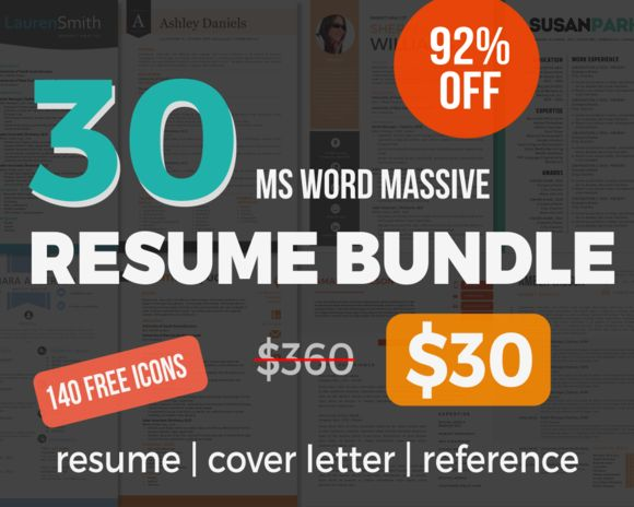 30 Massive Resume Pack Bundle By Inkpower On Creative Market. Cover Letter  TemplateCover LettersLetter TemplatesMicrosoft WordResume ...
