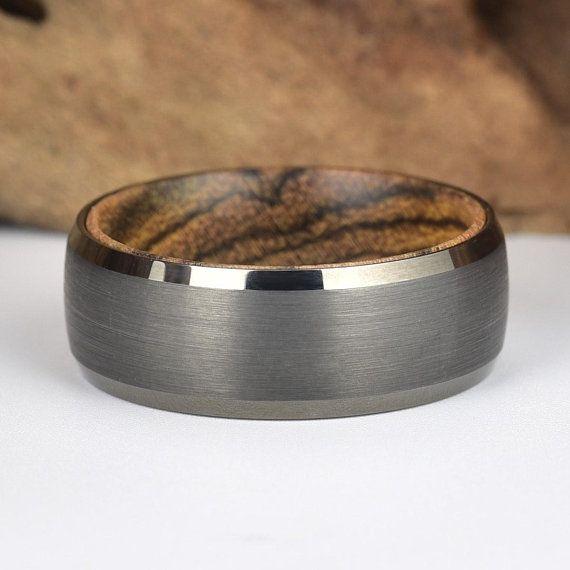 Bocote Wood Mens Wedding Ring Black Tungsten Ring Bocote Wood Mens Wedding Ring Rings By Pristine