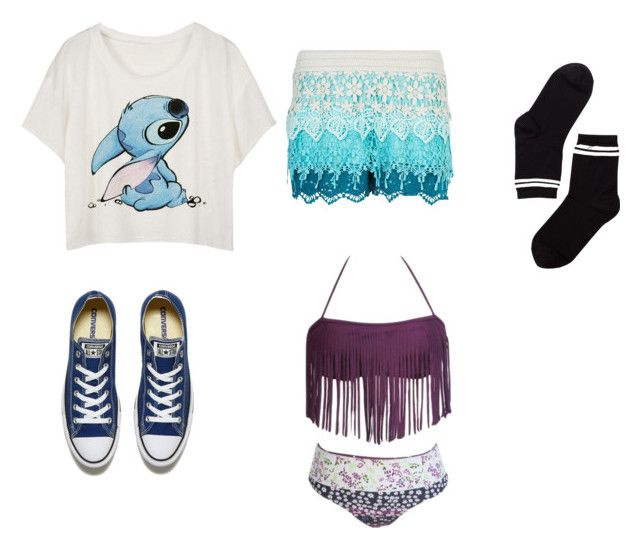 """""""easy pool outfit"""" by gracegamer on Polyvore featuring New Look, Monki and Converse"""