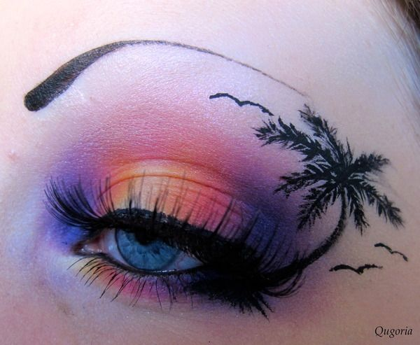 """A hawaii inspired eyelook that I did last summer for a hawaii themed birthday party. I've used the """"Burning heart"""" palette by sugarpill, some shadows from the coastalscents 88 palette together with a dip eyeliner from Isa dora (To make the palmtree)."""