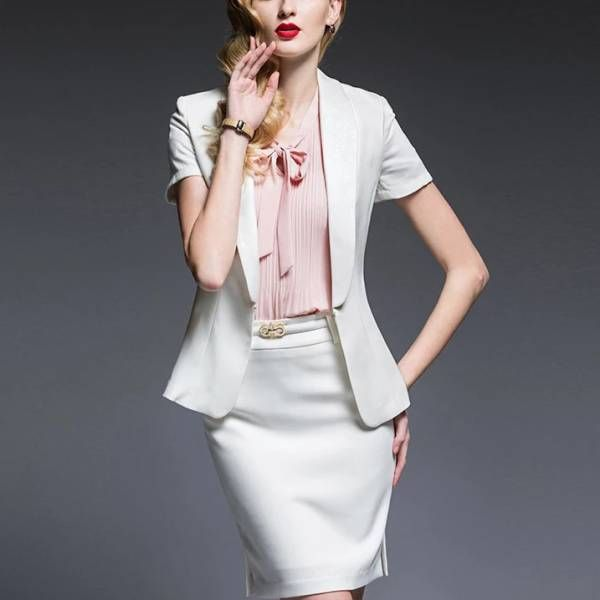 人気レディースファッショントレンドデザインエレガントビジネスオフィスOL上品職場女性社員魅力半袖フォーマルシャツスカートスーツ S23WH_画像1