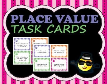 Engage your students in place value practice with this set of 32 task cards. Students answer questions in four categories:1) Identify the value of a digit in a number: cards 1-8.2) Determine place value of a digit in a number: cards 9-16.3) Write numbers using words: cards 17-24.4) Write numbers using digits: cards 25-32.Create extra problems for each type with included blank cards53 pages includes 32 task cards, 32 answer cards, 16 blank cards, student recording sheets, and answer keys.