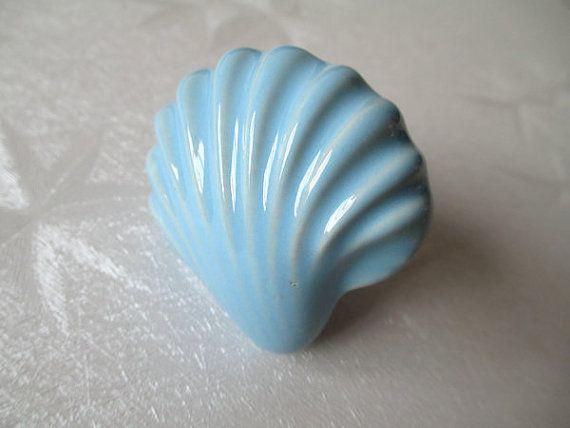 Large Drawer Knobs Shell Dresser Knob Blue Ceramic / Nautical Kitchen Furniture Cabinet Dresser Drawer Pulls Handles Hardware Porcelain A18 on Etsy, £3.96