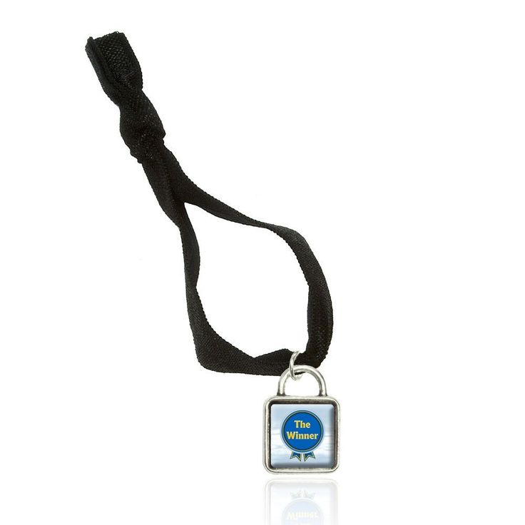 Blue Ribbon The Winner Award Bracelet Double Fold Over Stretchy Elastic No Crease Hair Tie with Sqr Charm * Click image for more details.