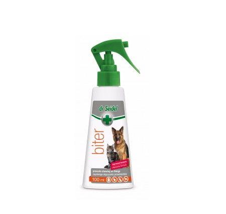 dr Seidel Biter. BITER zabezpiecza przed gryzieniem mebli, butów, przewodów elektrycznych i innych przedmiotów dzięki zawartym w preparacie gorzkim substancjom, które są nieprzyjemne dla zwierząt. Produkt jest nieszkodliwy dla ludzi i zwierząt.